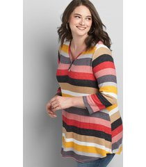 lane bryant women's 3/4 sleeve henley waffle mix tunic tee 14/16 multi stripe