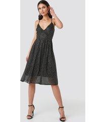 na-kd party thin strap dotted chiffon dress - black