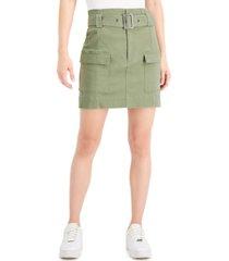 tinseltown juniors' belted cargo skirt