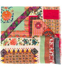 etro paisley print patchwork scarf - green