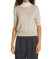 women's rachel comey metallic contrast mock neck knit top, size large - ivory