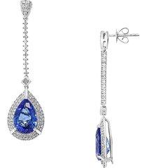effy women's tanzanite royalé 14k white gold & multi-stone drop earrings