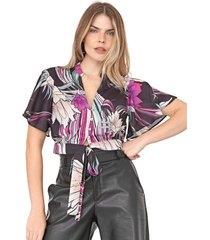 camisa cropped dimy floral amarração preta/rosa