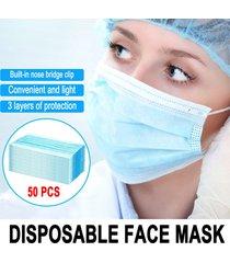 50pc 3 capas de media cara filtro protector kouzhao desechable azul