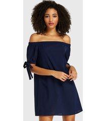 medias mangas con hombros descubiertos azul marino vestido