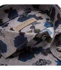 john miller overhemd grijs blauw bloem print cutaway ml7 tailored fit