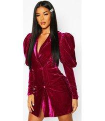 fluwelen tuxedo jurk met pofmouwen, wijn