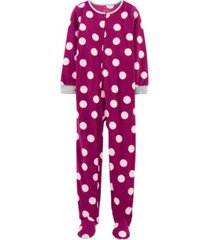 carter's big girl 1-piece polka dot fleece footie pjs