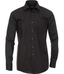casamoda overhemd effen poplin kent ml5 comfort fit zwart