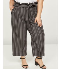 lane bryant women's soft ankle pant with belt - striped 28p black & white stripe