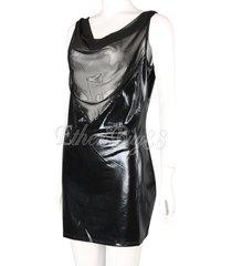 glamour women leather wet look backless mini dress metallic bodycon clubwear