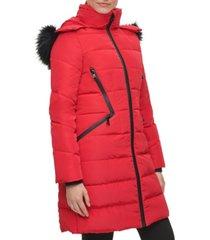 karl lagerfeld paris women's faux fur hooded puffer coat
