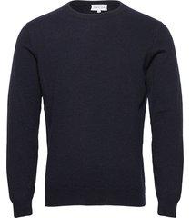 man o-neck plain stickad tröja m. rund krage blå davida cashmere