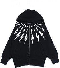 neil barrett black cotton lightning print zipped hoodie