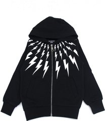 neil barrett black cotton lightning print zipped hoodie