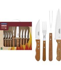 kit para churrasco tramontina em aço inox com cabo de madeira natural 10 peças 22399037