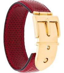 gucci pre-owned 1990's buckle belt bracelet - red