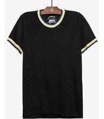 camiseta botonê gola punho listrados - masculina - masculino