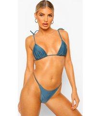 essentials driehoek bikini top met schouder strikjes, petrol