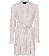 round collar pleated detail short dress