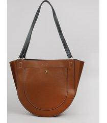 bolsa de ombro feminina grande arredondada marrom