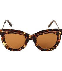 bottega veneta women's 49mm etched detail cat eye sunglasses - havana brown