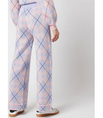 olivia rubin women's isobel knitted wide leg check trousers - check mix - l