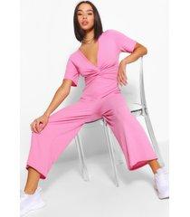 geribbelde gedraaide culotte jumpsuit, blush