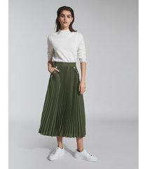 reiss lina - pleated midi skirt in green, womens, size 14