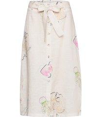 skirt w. buttons and belt knälång kjol vit coster copenhagen