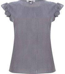 blusa lineas con arandelas color azul, talla m