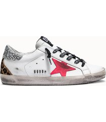 golden goose deluxe brand sneakers super star colore bianco animalier