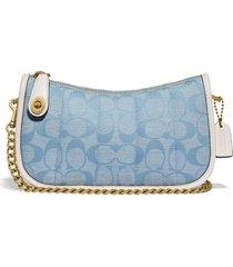 coach originals swinger 20 signature jacquard shoulder bag - blue