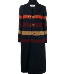 lanvin stripe-detail buckle coat - blue