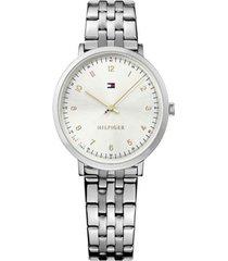 reloj tommy hilfiger modelo ultra slim - multi branded plateado mujer