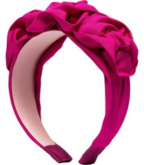 jennifer behr triple rosette silk faille headband - pink