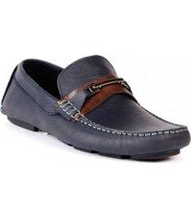 zapato mocasin san polos 3022 azul x miel