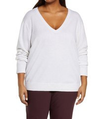 plus size women's vince weekend v-neck cashmere sweater, size 3x-large - white