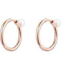 pendientes aro medianos  basics plata vermeil rosa con perla rosa tous