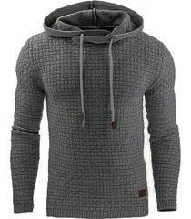 sudadera con capucha en color liso de manga larga para hombres-gris oscuro