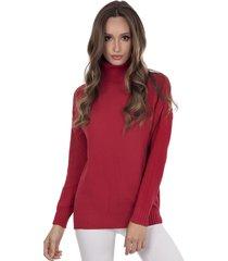blusa myah lolla vermelho gola alta em tricã´ - vermelho - feminino - dafiti