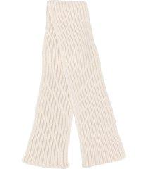 agnona rib knit scarf - white