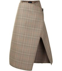 we11done open-front wrap skirt - neutrals
