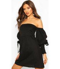 linen off shoulder shirred sleeve mini dress, black
