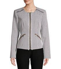 jacquard fringe jacket