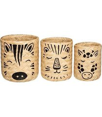 kosz bambusowy 3 szt. kosz na zabawki safari