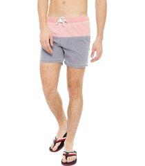 traje de baño blocktres rosa / gris - calce regular