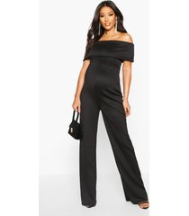 maternity bardot wide leg jumpsuit, black