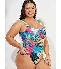 traje de baño sin mangas geométrico multicolor de talla grande