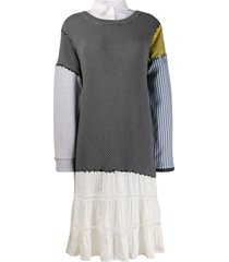 moschino patchwork jumper dress - grey